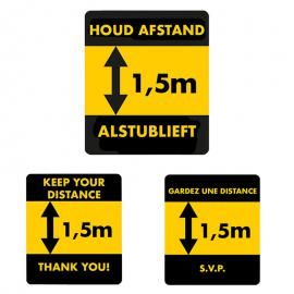 Waarschuwingssticker afstand 1.5 meter (NL,EN & FR)